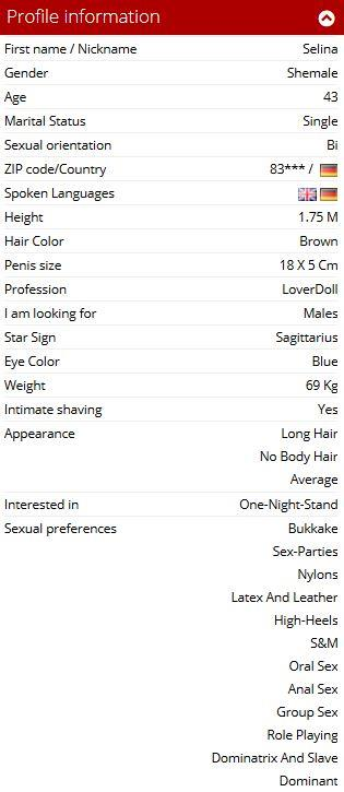 A screen shot of a members profile including the sexual preferences as found on MyDirtyHobby.com
