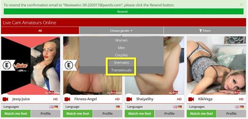 The main live webcams gallery showing the gender drop down menu on MyDirtyHobby.com